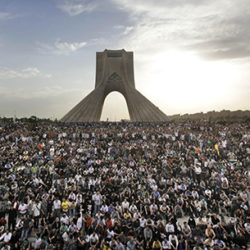 Hundreds of thousands of supporters of leading opposition presidential candidate Mir Hossein Mousavi, who claims there was voting fraud in Friday's election, turn out to protest the result of the election at a mass rally in Azadi (Freedom) square in Tehran, Iran, Monday, June 15, 2009. (AP Photo/Ben Curtis)